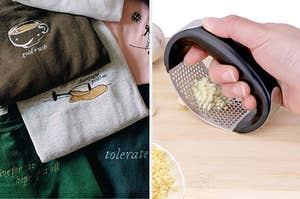 to the left: a stack of embroidered taylor swift sweatshirts, to the right: a garlic roller