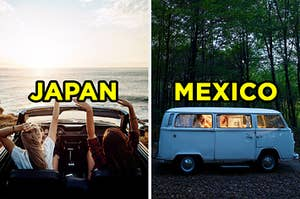 """On the left, two people with their hands up in a convertible near the beach labeled """"Japan,"""" and on the right, a VW bus parked o he road near a forest labeled """"Mexico"""""""