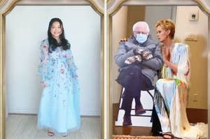 Lana Condor in a bright blue gown, smiling, side by side with Cynthia Nixon talking to a cutout of Bernie Sanders