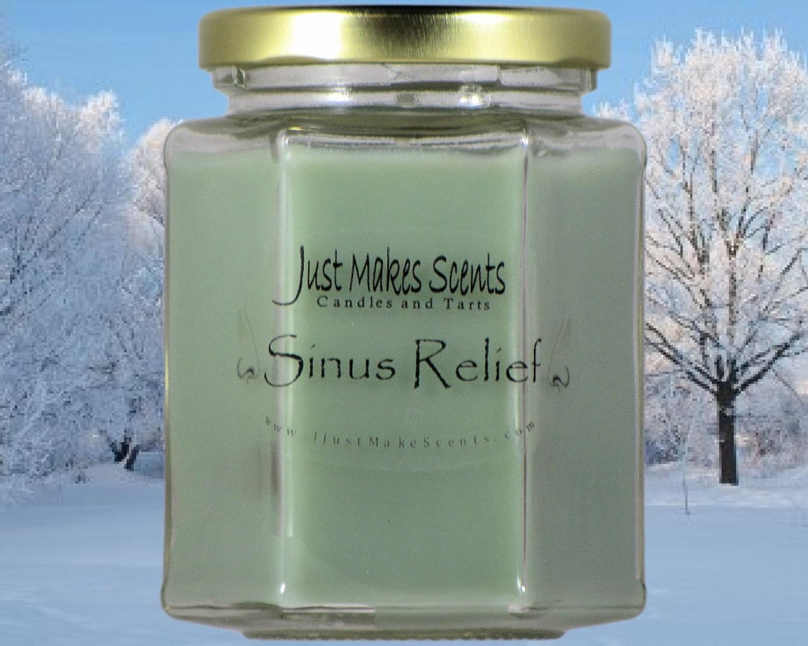 """A green candle that says """"Sinus Relief"""""""