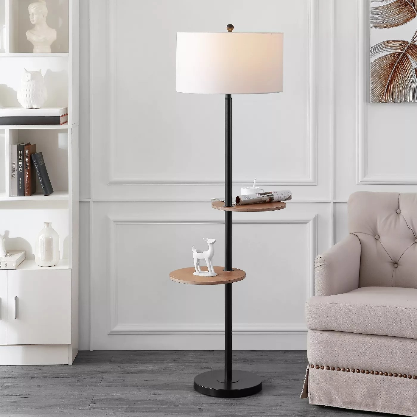 The floor lamp with two shelves