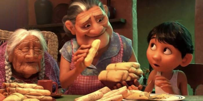 """A dinner table scene from the movie """"Coco"""""""