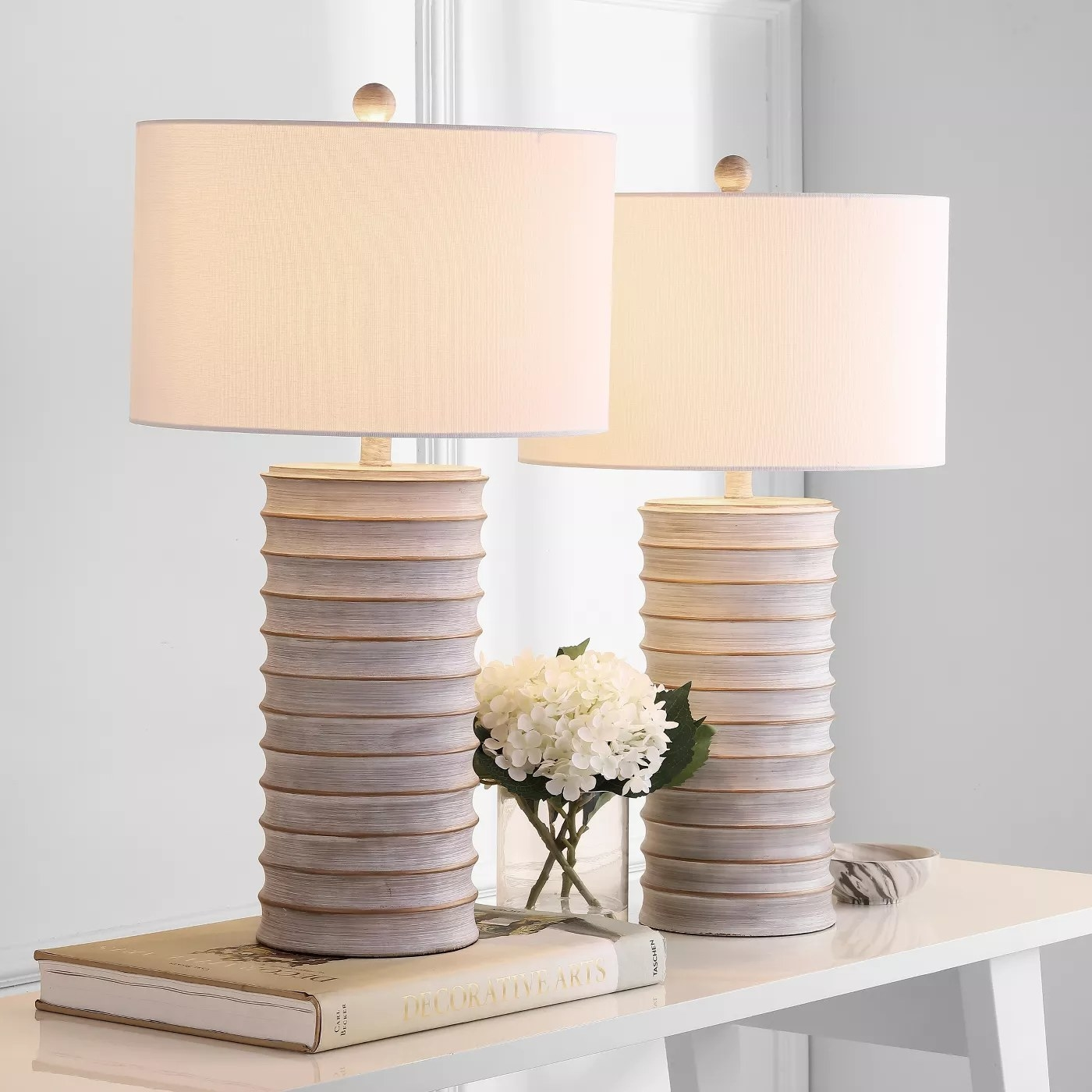 The white-wash table lamps