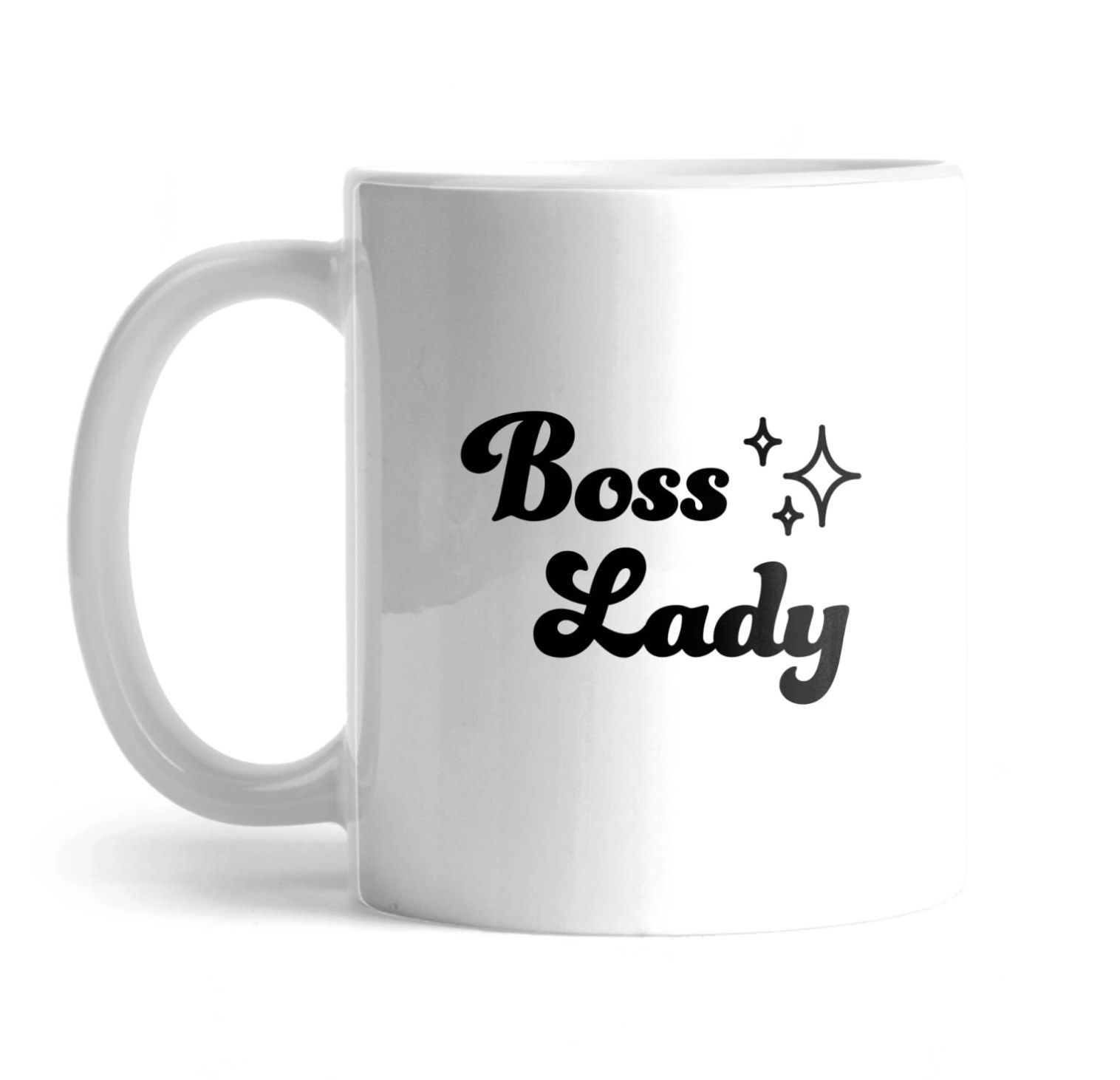"The white mug that says ""boss lady"" in black"