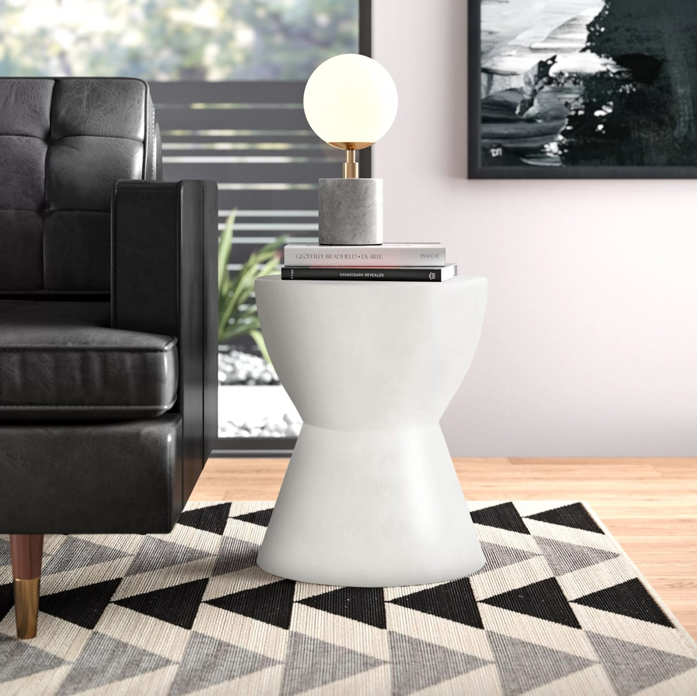 The hourglass end table in white
