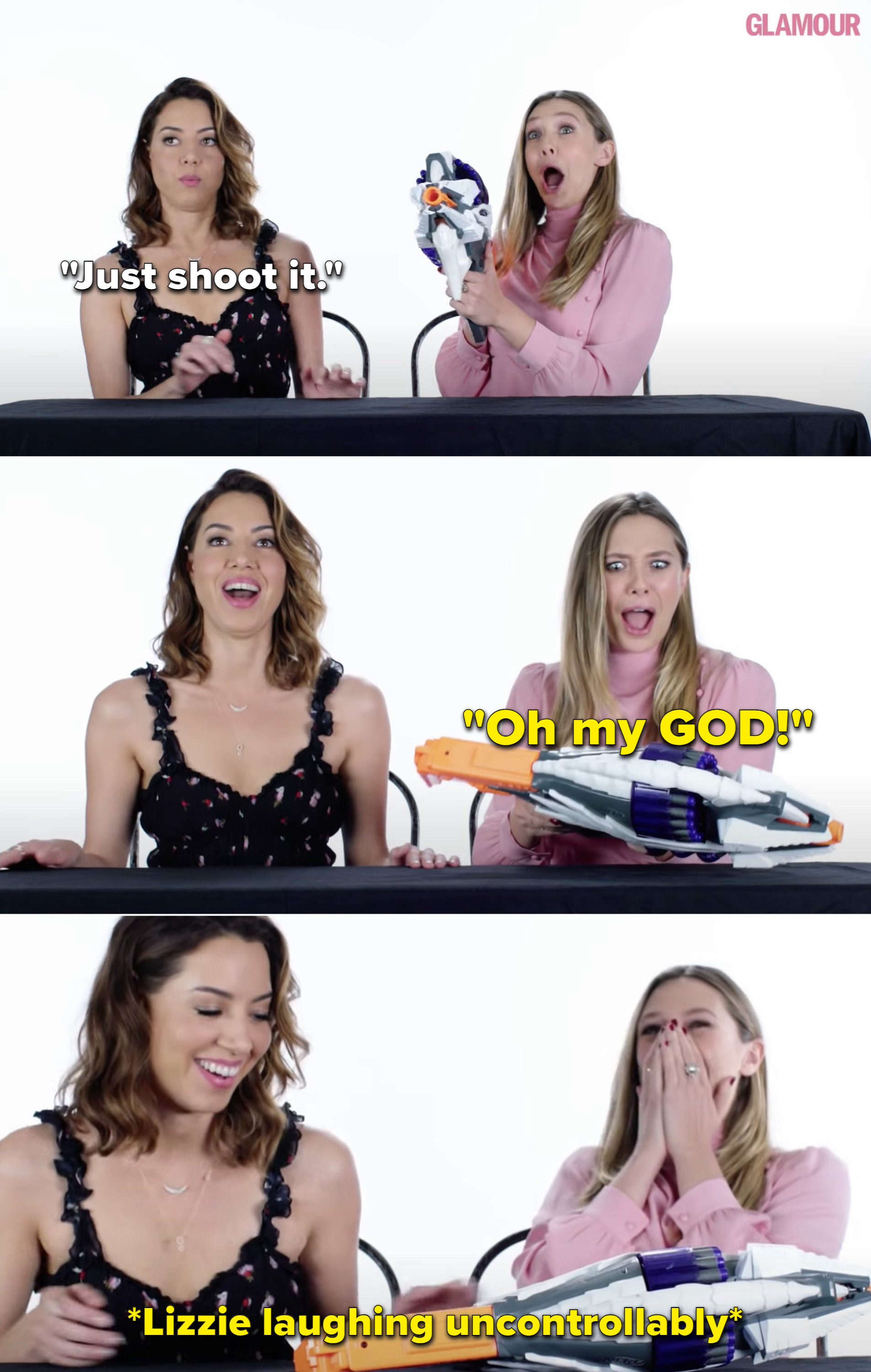 Aubrey Plaza telling Elizabeth to just shoot the NERF gun, then Elizabeth screaming and laughing