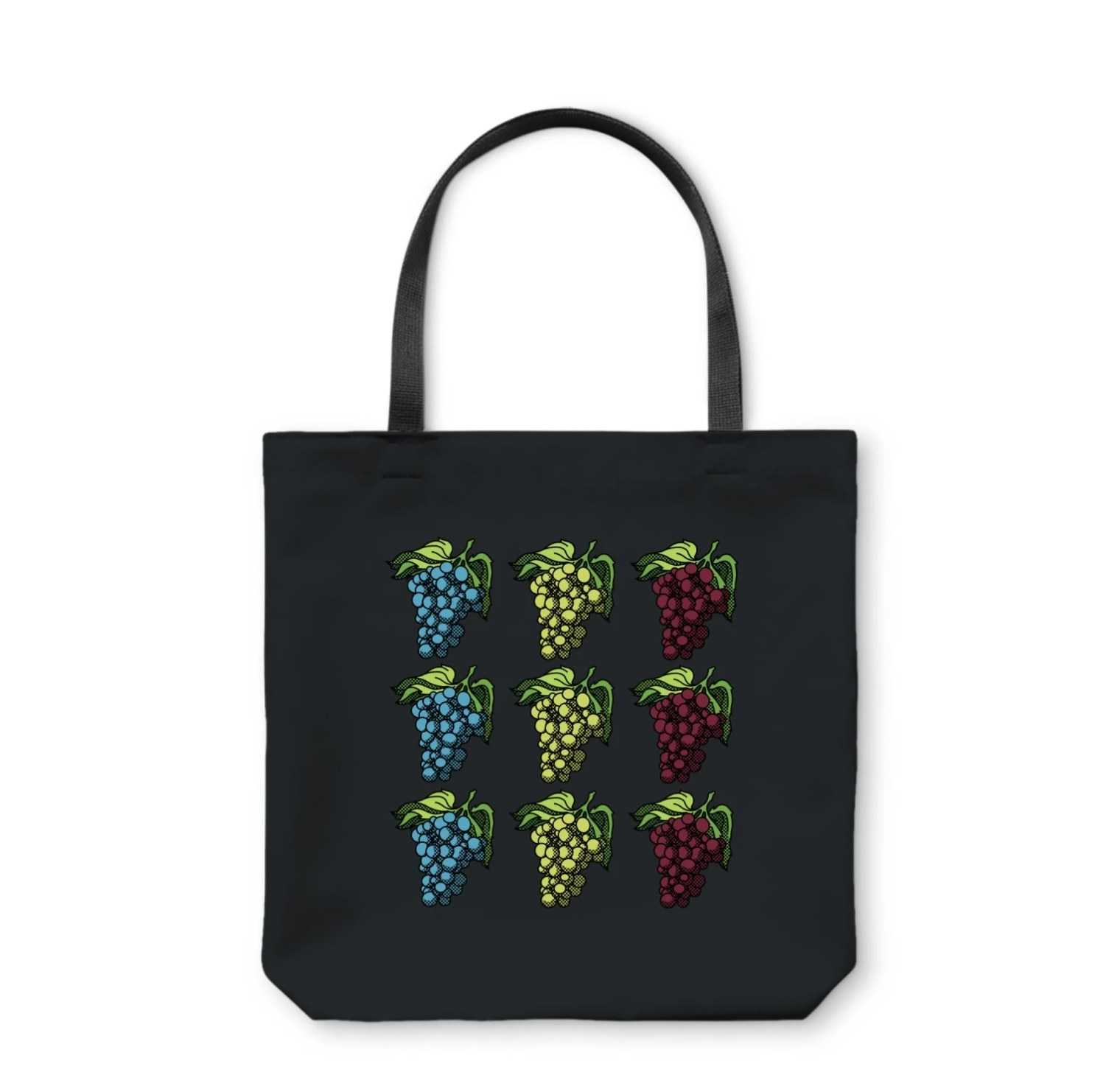The bag in black with cartoon grapes in blue, white, and red on them