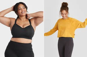 on left model wearing black sports bra and on right model wearing yellow crewneck sweater