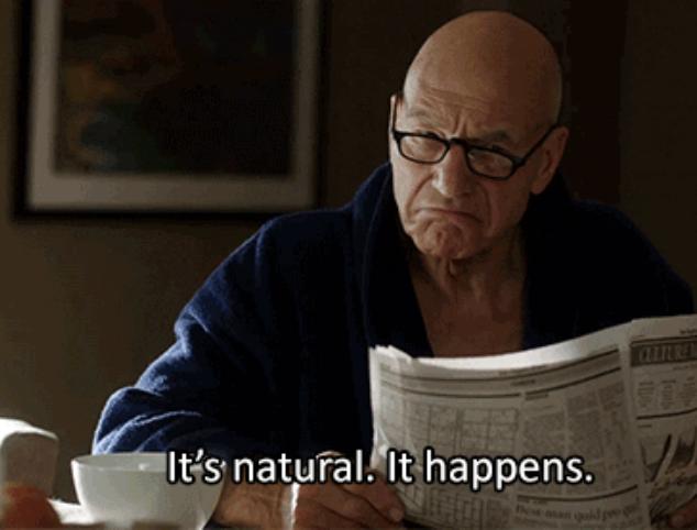 "Walter on Blunt Talk saying ""It's natural, it happens"""