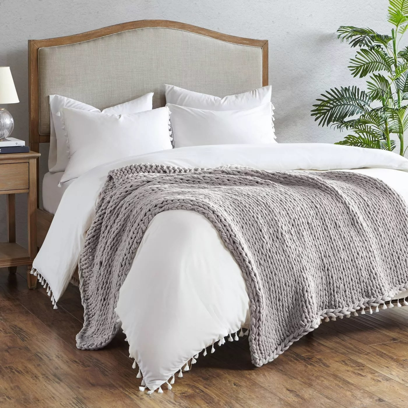 The gray, double-knit blanket