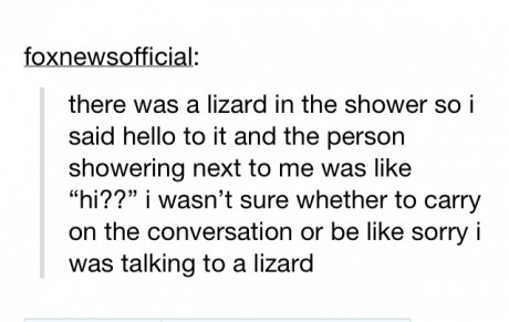 tumblr post about someone saying hello to a lizard and theyre overheard and dont know what to do