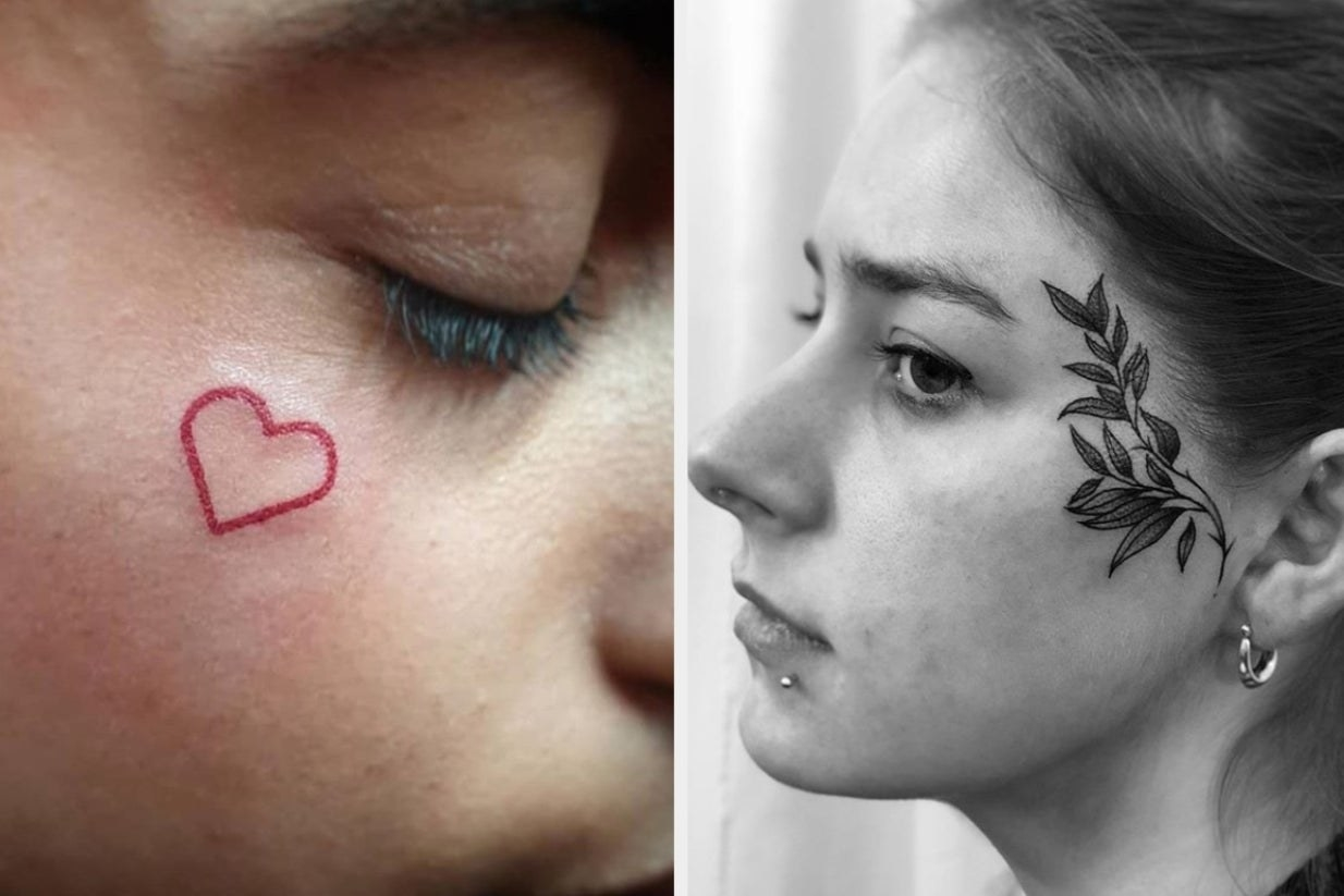 red heart tattoo and leaves tattoo