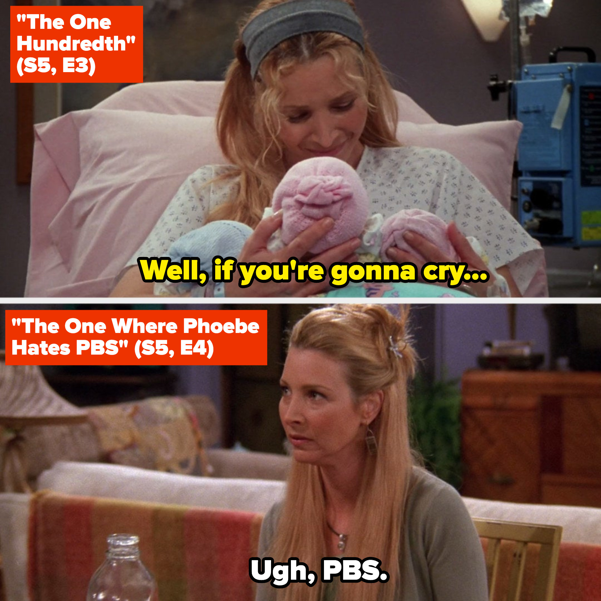 Phoebe holding the triplets in the hospital room, crying; the next episode, Phoebe hating on PBS