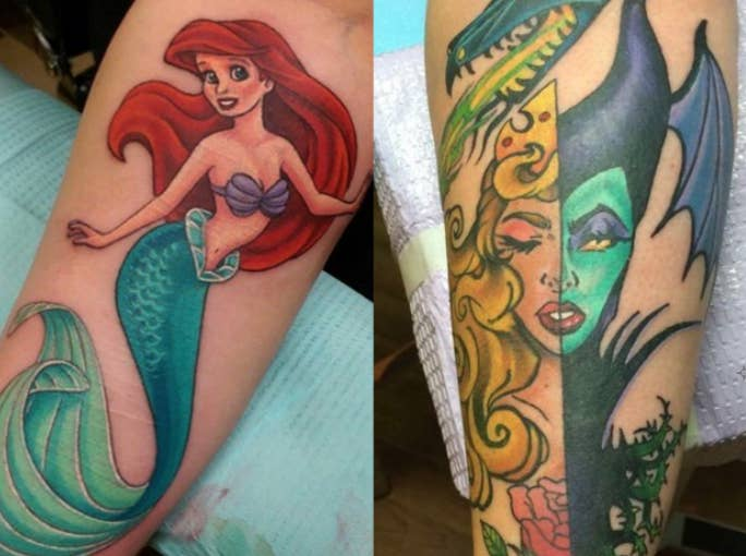 Ariel tattoo and sleeping beauty and maleficent combination tattoo