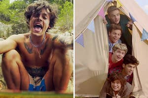 """On the left, Harry Styles in the """"Golden"""" music video, and on the right, One Direction in the """"Live While We're Young"""" music video"""