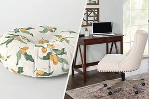 to the left: a floor pillow, to the right: a comfy white office chair