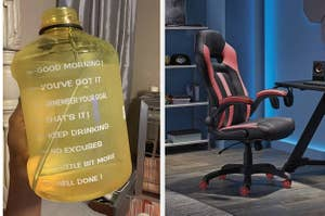 to the left: a gallon water bottle, to the right: a gaming chair
