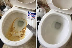 On left, dirty toilet bowl with rust rings. On right, same toilet bowl all clean after using gray pumice stick