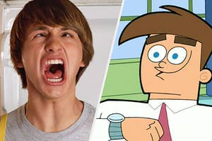 Fred and a grown up Timmy Turner in their respective Nickelodeon movies