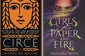 (left) book cover for Circe; (right) book cover for Girls of Paper and fire