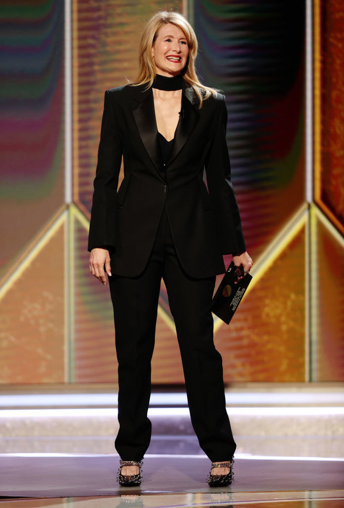 Laura rocks a suit and spiked heels as she presents at the Golden Globes