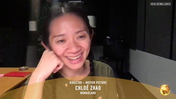 Chloé Zhao smiling over zoom after her win