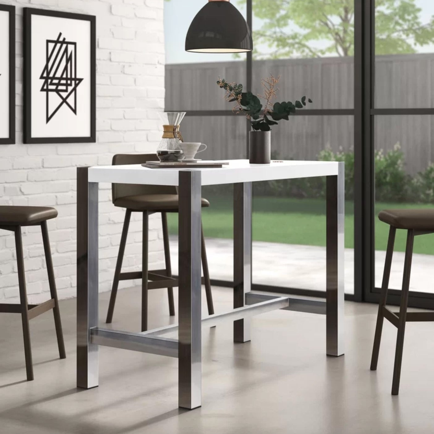 The high top dining table in white