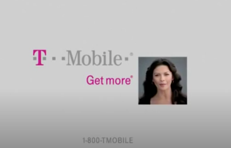 Screenshot of the T-Mobile logo with a square photo of Catherine Zeta-Jones and get more written next to her