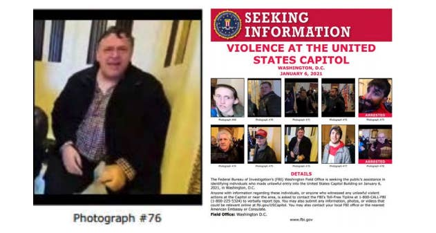 "A FBI document wth the text ""seeking information: violence at the US Capitol"" contains two rows of suspects' faces"