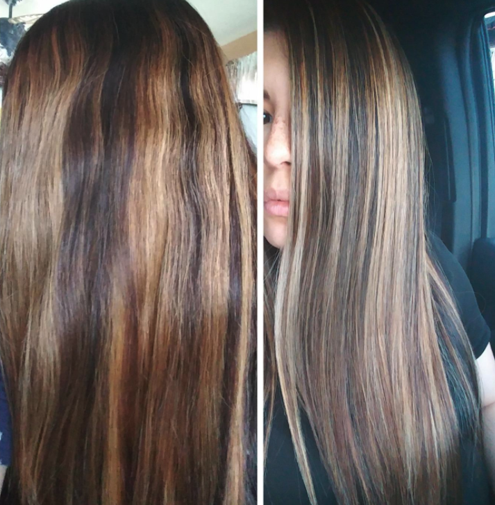 before/after of customer's hair. before photo shows orange-toned highlights and after shows less brassy coloring.