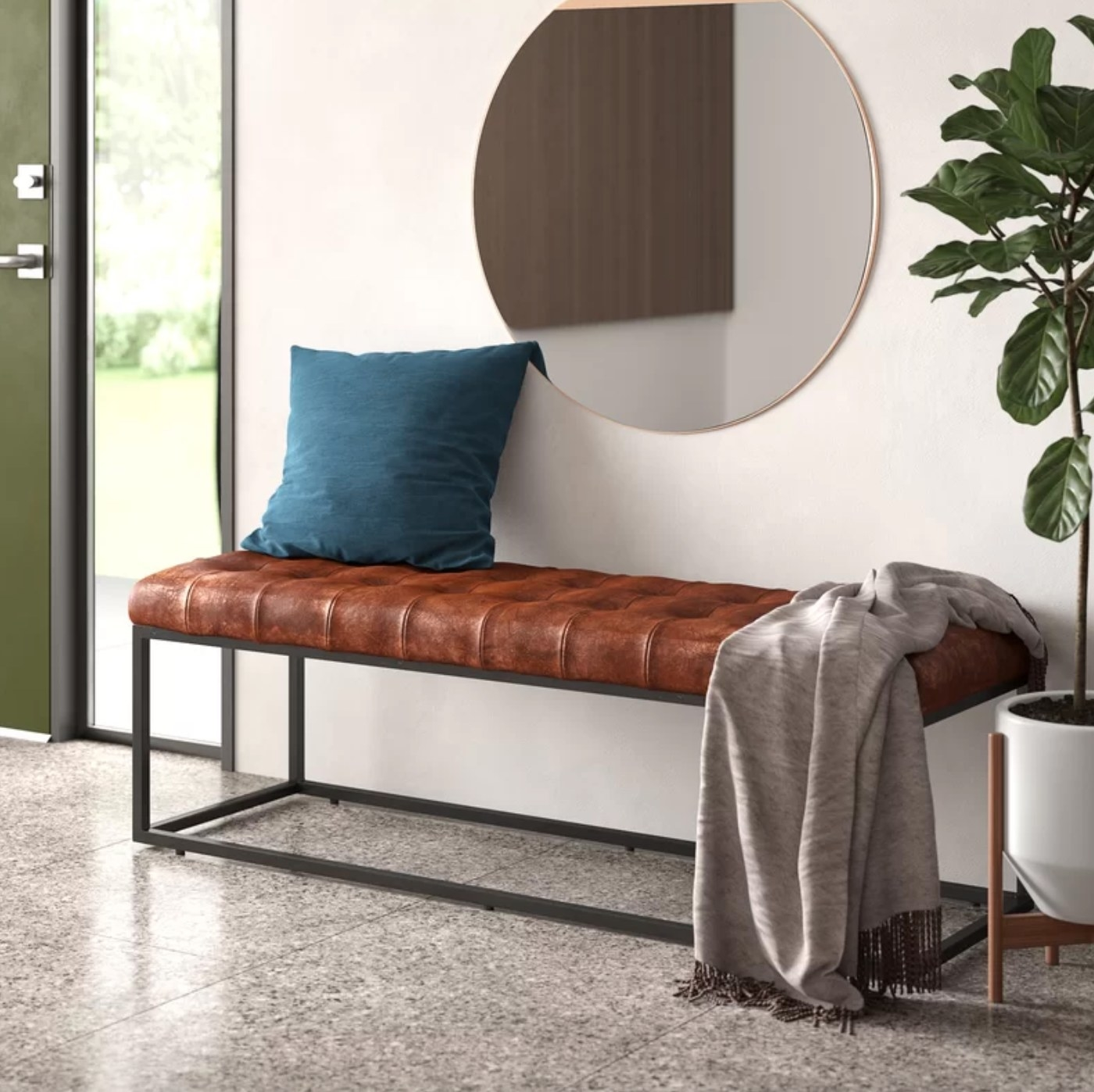 The leather bench