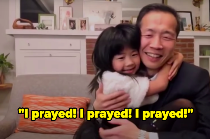 The director's daughter hugging him