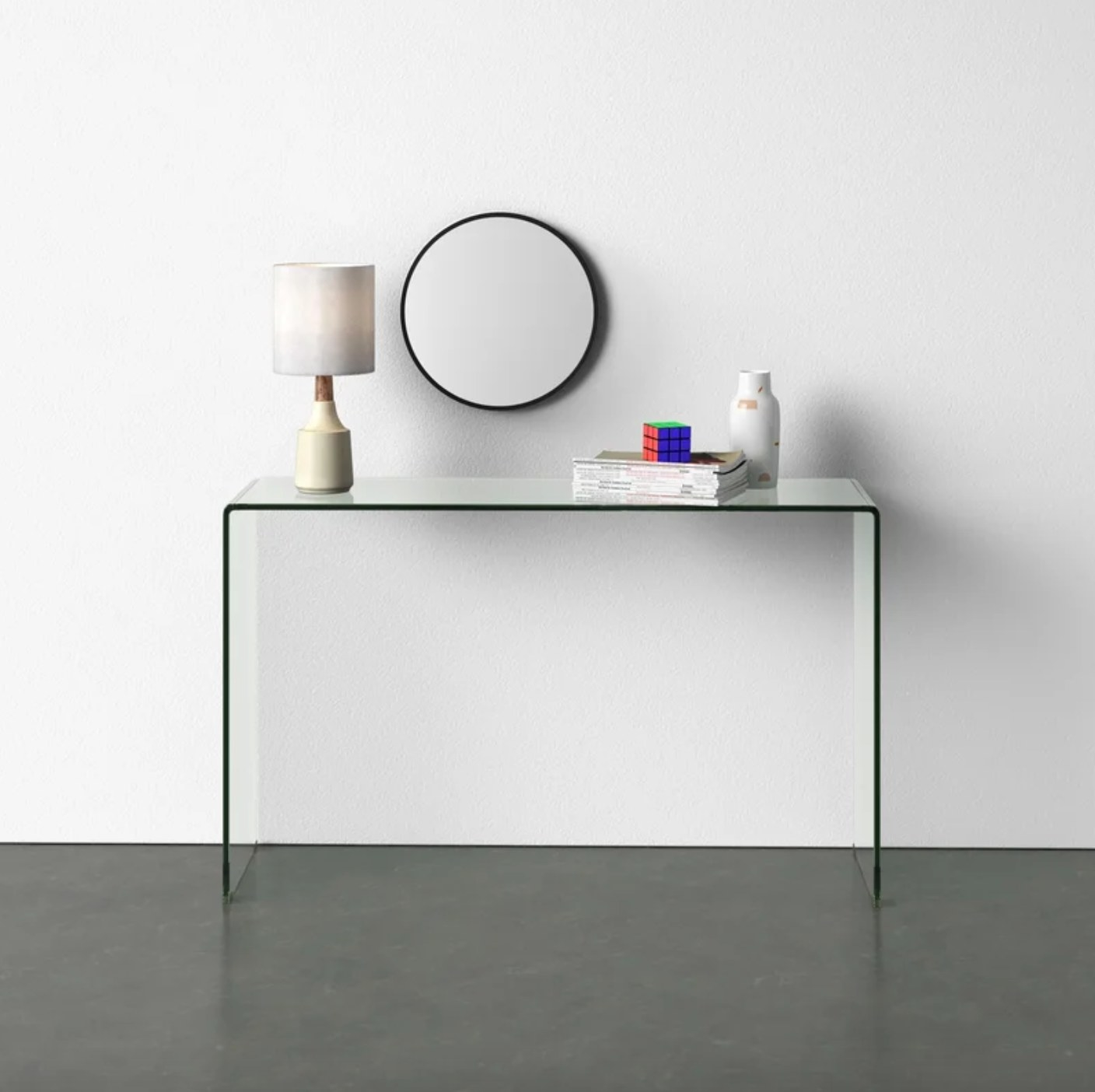 The glass console table