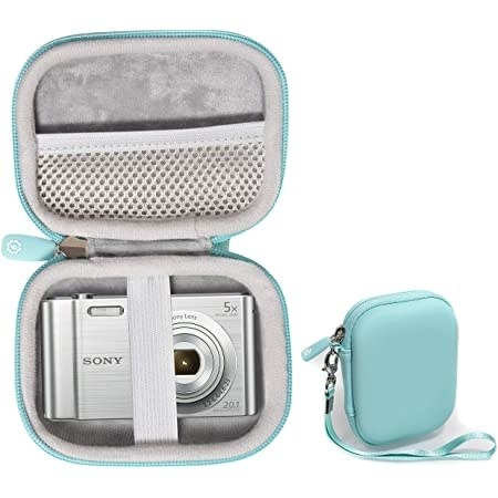 A baby blue camera case shown both open with a camera inside and also closed