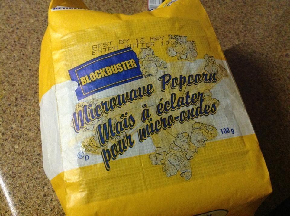 A bag of Blockbuster popcorn