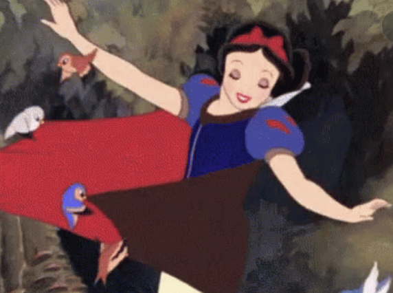 Snow White being pulled by birds