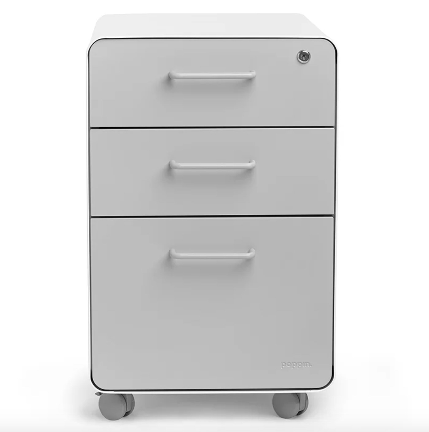 The three drawer filing cabinet in light gray