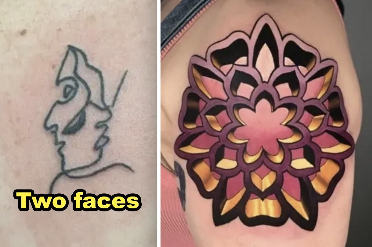 Two faces line tattoo and 3D pink geometric tattoo