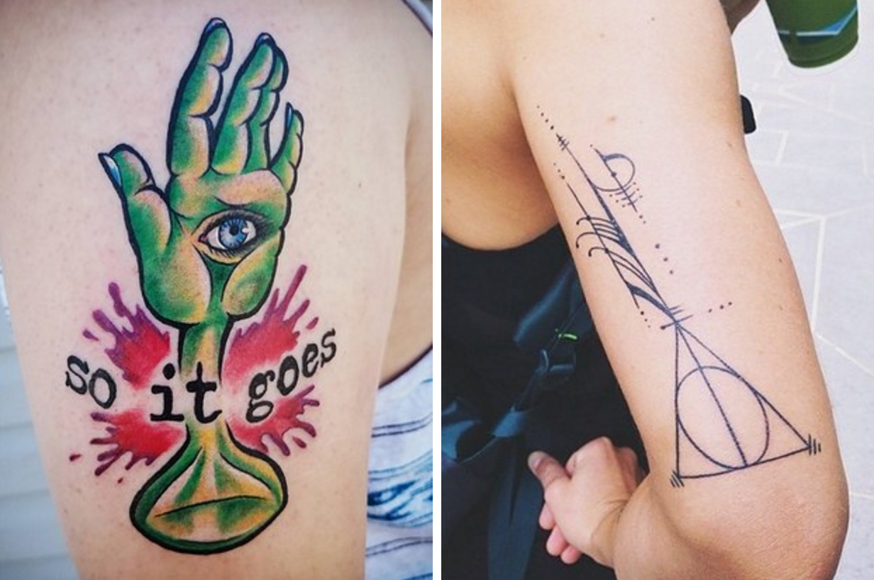 """Hand with eye on it and the words """"So it goes"""" and deathly hallows design"""