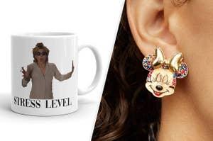 to the left: a parent trap mug, to the right: minnie mouse birthday earrings