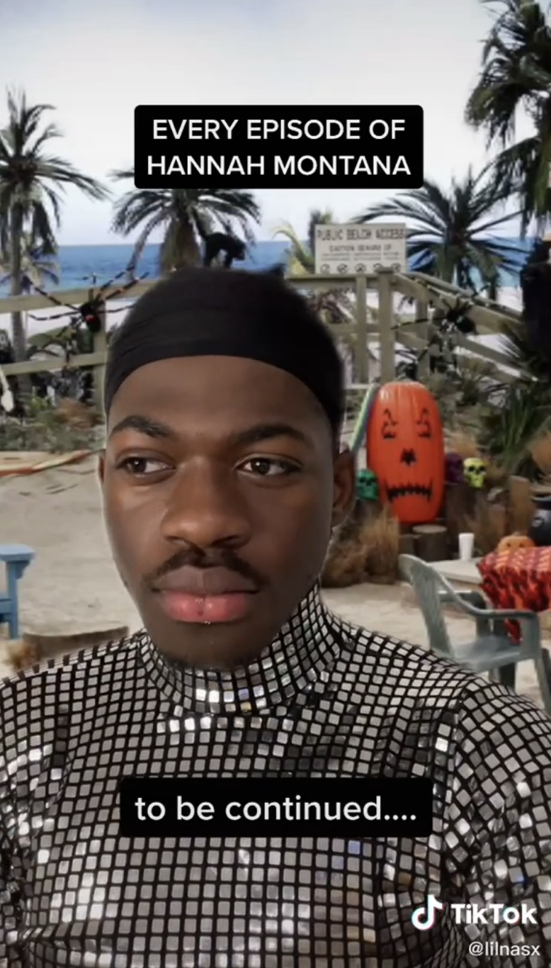 """Lil Nas X after taking off the wig, with text that reads """"to be continued"""""""