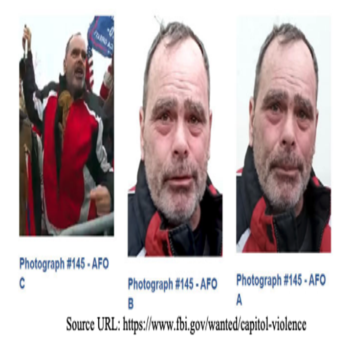 Three side-by-side images show a man yelling behind a gate, followed by two headshots