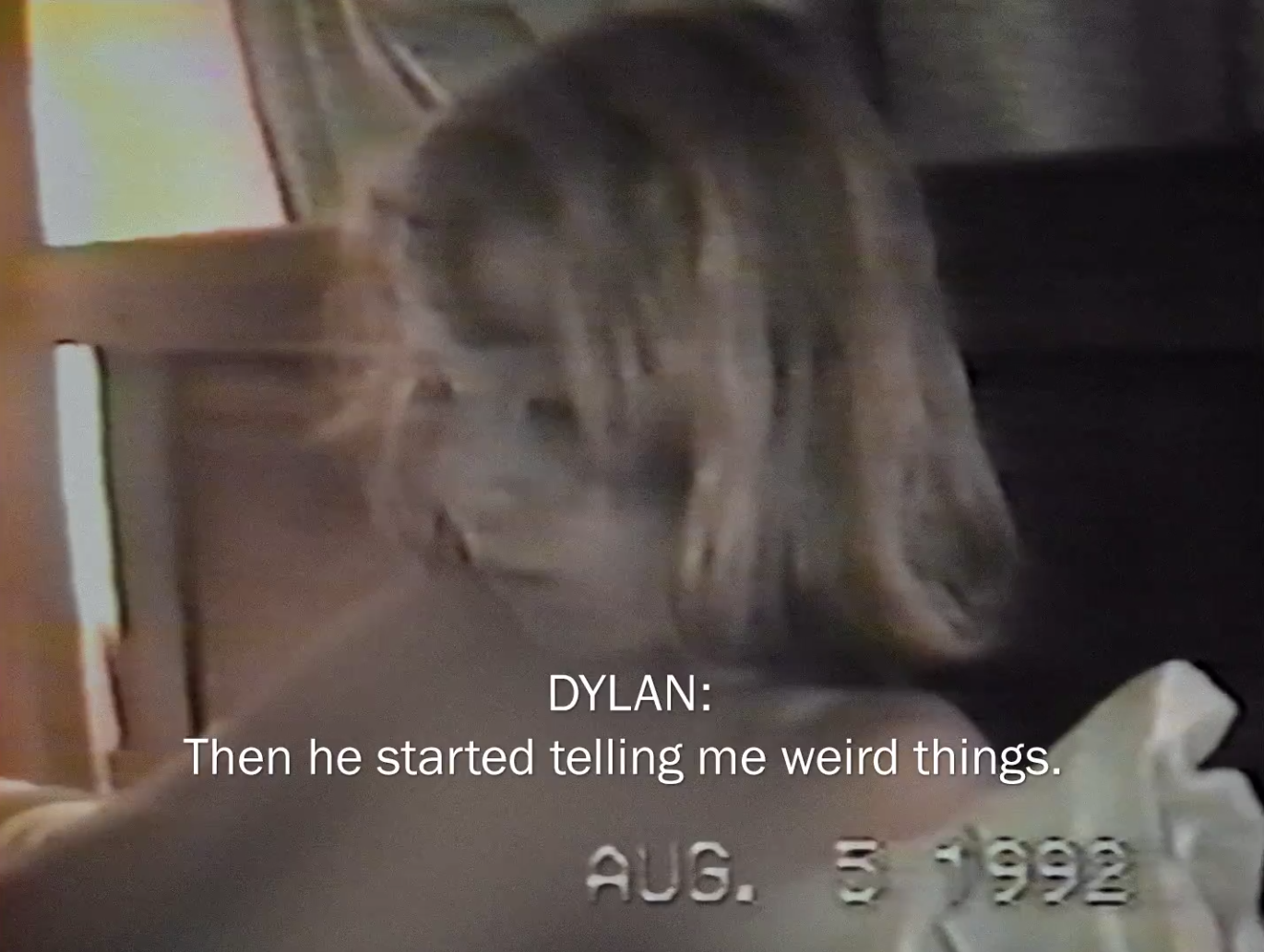 Archived footage of Dylan talking about her abuse