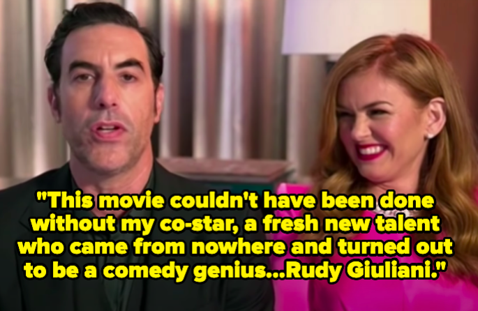 """Sascha says, """"This movie couldn't have been done without my co-star, a fresh new talent who came from nowhere and turned out to be a comedy genius...Rudy Giuliani"""""""