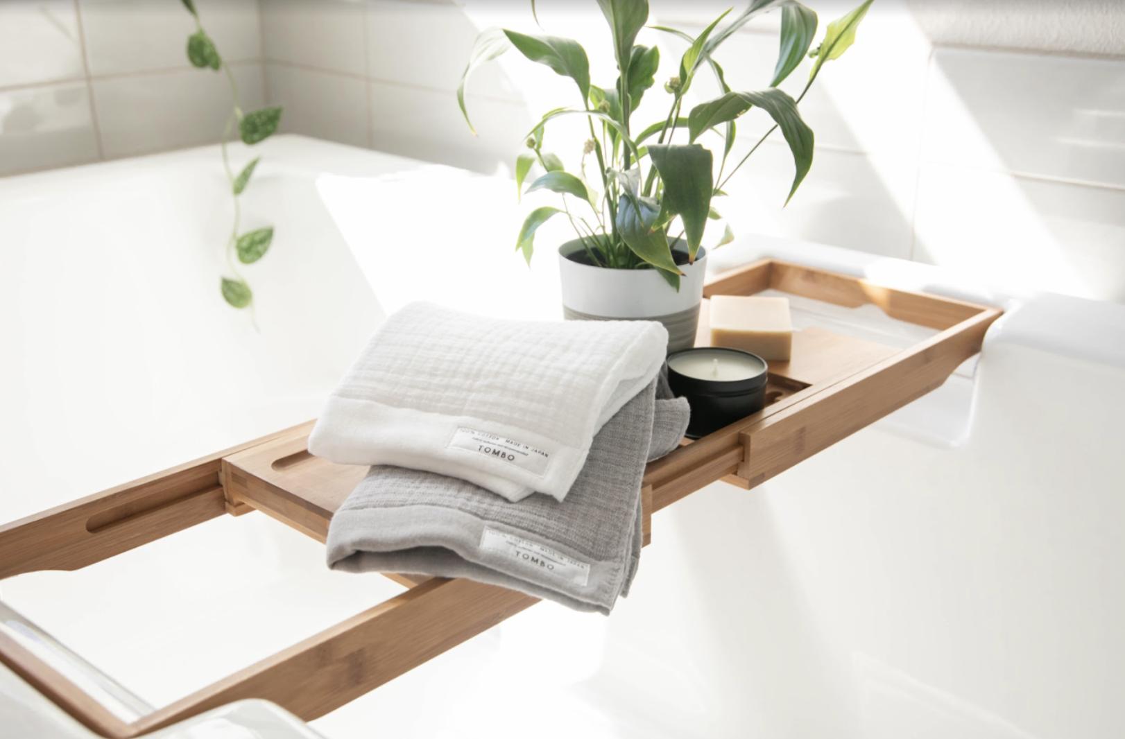 the towel on a bathtub tray