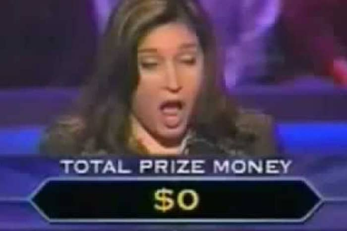 Woman looking shocked with a total prize money of $0