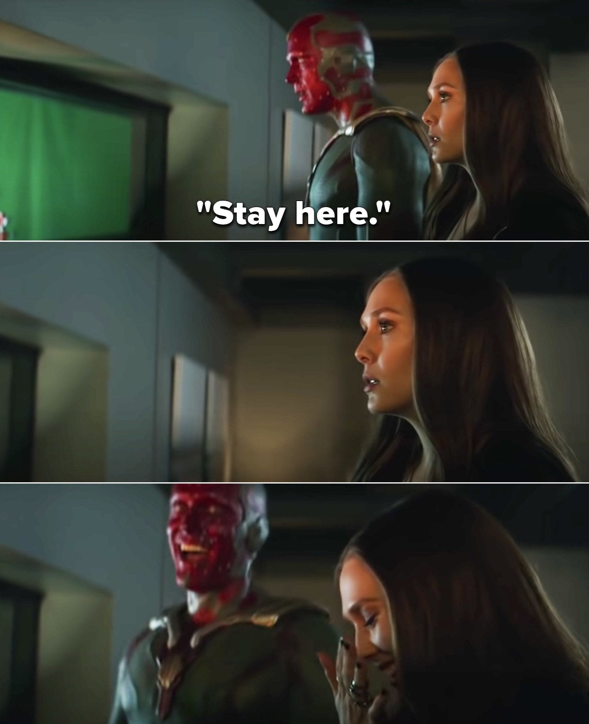 """Paul Bettany as Vision saying, """"Stay here,"""" and then crouching down, and Elizabeth starting to laugh"""
