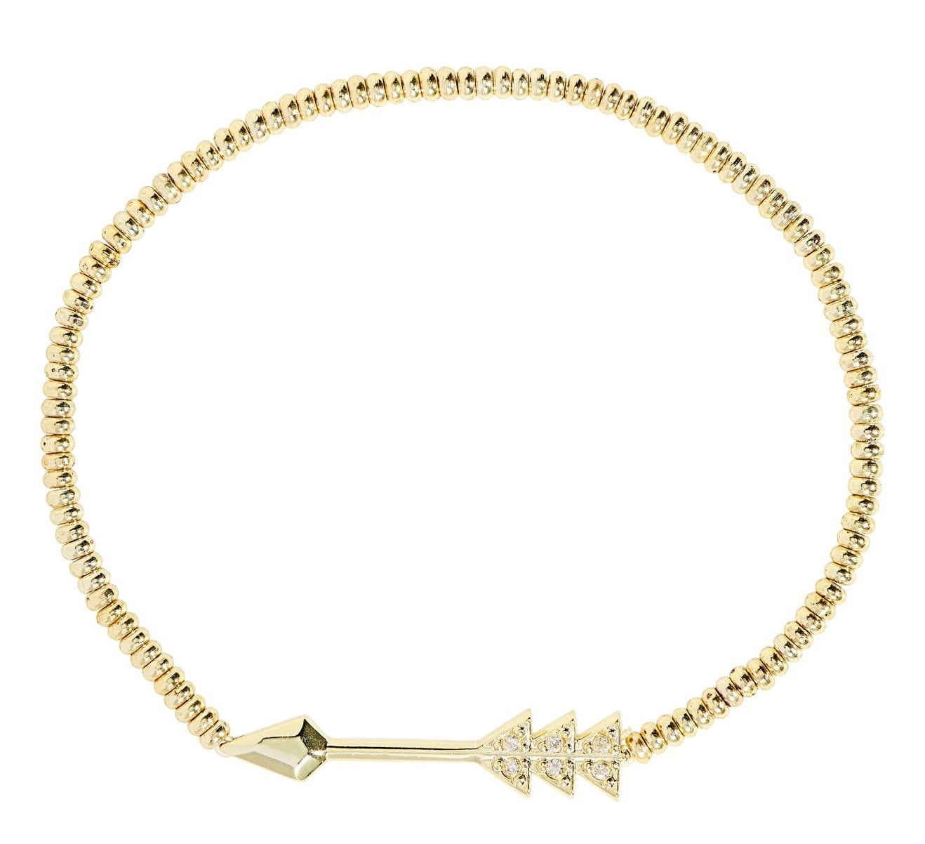 gold stretchy bracelet with an arrow charm
