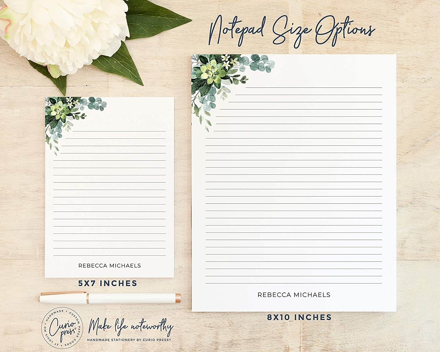 the notepads in two sizes