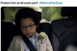 """Adam looking sad in the backseat of the car with the caption """"protect him at all costs pls"""""""